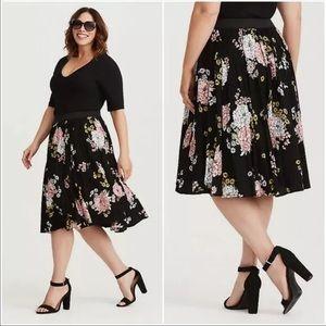 Torrid Plus Floral Print Challis Tulle Full Skirt